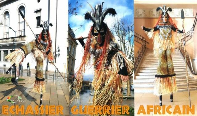 Echassier guerrier afro pour spectacle en plein air