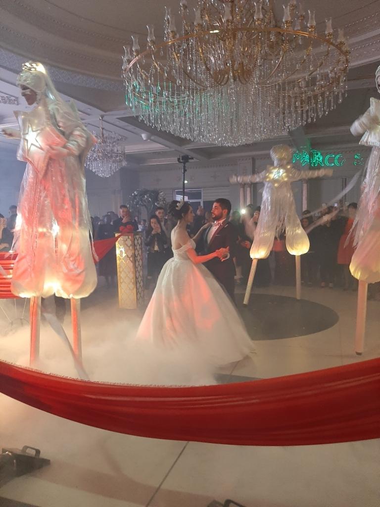 spectacle pour mariage avec echassier blanc lumineux